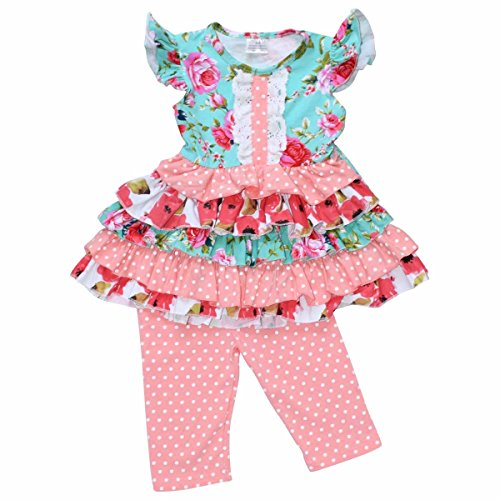Unique Baby Girls Layered Ruffle Summer Boutique Outfit (2T/XS, (Boutique Girls Outfits)