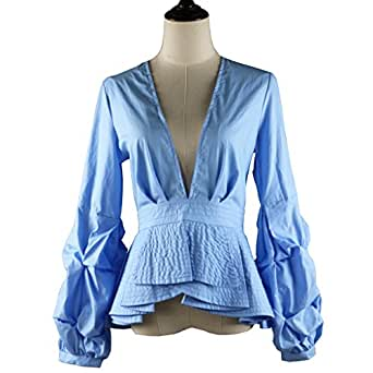 AOMEI Deep V Neck Blouse Shirts for Women with Puff Sleeve Solid Blue Color US Size 2