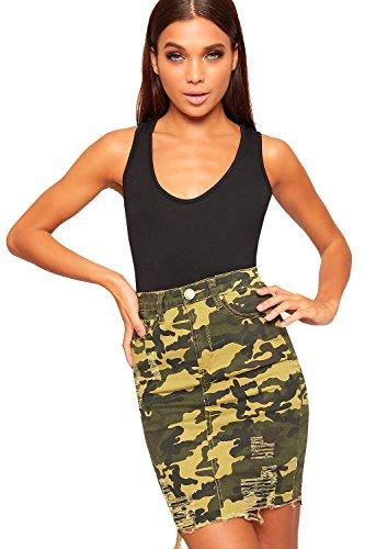 Afflig 42 Arme Militaire Mini Jean Dchirs Dames Vert Toile 34 Imprimer De Femmes Jupe Camouflage WearAll qg6tw