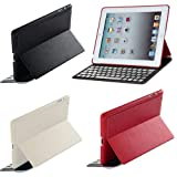 FlyStone® Latest Apple iPad 4 with Retina Display Ultra-thin Aluminum Wireless Bluetooth QWERTY Keyboard Slim Fit Folio Leather Case Stand. Super Slim Only 2mm + Aluminium Keys + Magnetic Charging Port. Support Auto Wake/Sleep, Compatible with iPad 2/3/4 WiFi, 3G, 4G, LTE, WiFi+LTE 16GB, 32GB, 64GB, 128GB. (Incompatible with iPad 5) (iPad 2/3/4, White)
