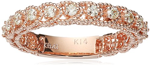 14k Twisted Pink Gold Diamond Stackable Ring (1/3cttw, I-...