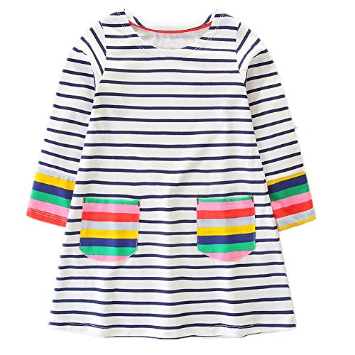 HILEELANG Toddler Little Girl Stripe Cotton Long Sleeve Casual Pocket Dresses for Legging