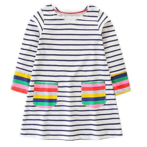 HILEELANG Toddler Little Girl Stripe Cotton Long Sleeve Casual Pocket Dresses for Legging -