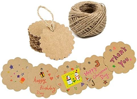Arts /& Crafts 100PCS Black Craft Scalloped Paper Gift Tags with 100Feet Natural Jute Twines for Birthday Party Wedding Decoration Gifts