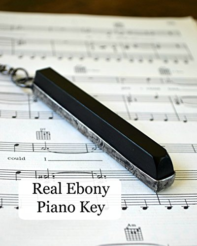 - Antique Ebony Piano Key, Handmade Gift for Musician or Music Teacher, Long Musical Necklace Jewelry 2295