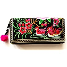 Wallet by WP Embroidery Teal Zipper Wallet Purse Clutch Bag Handbag Iphone Case Handmade for Women, Pink Wallet