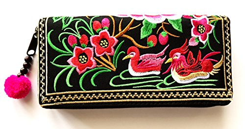 Wallet by WP Embroidery Teal Zipper Wallet Purse Clutch Bag Handbag Iphone Case Handmade for Women, Pink Wallet