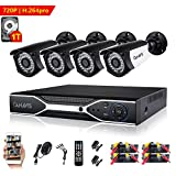 720P Wired Home Security Camera System 4CH DVR Video Surveillance System 1.0MP CCTV Bullet Camera with Night Vision Motion Detection 1TB Hard Drive for Indoor Outdoor