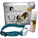 Rechargeable Spray Dog Training Collar Pet Citronella Bark Control No Barking Collar with USB Cable (Blue)