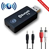 Bluetooth Transmitter, YETOR 3.5mm Portable Stereo Audio Wireless Bluetooth Audio Transmitter, for TV, PC, MP3/MP4.USB Power Supply