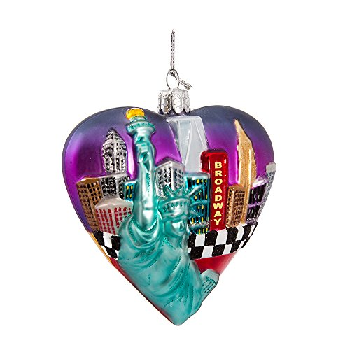 Kurt Adler Glass New York Cityscape Ornament, 3.75-Inch (Nyc In Decorations Christmas)