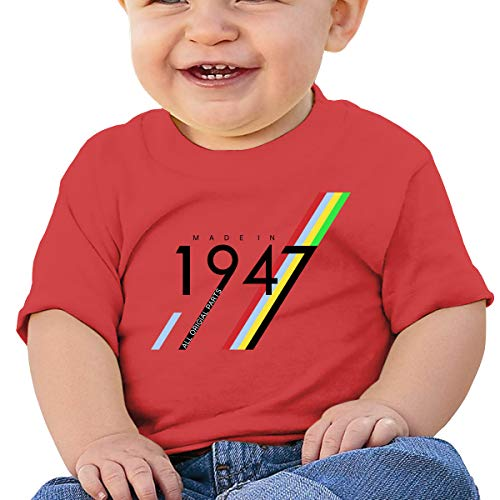 - 6-24M Baby Boys' Toddler/Infant 70th Birthday Gifts Made 1947 Short Sleeve Shirt Red