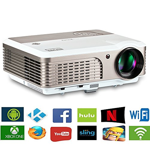 EUG Wireless Home Theater Projector HDMI USB, Support Full HD 1080P 720P, with Built-in Speakers Keystone Remote 50000 Hours LED Lifespan, Movie Video Games Indoor Outdoor LCD Beamer by EUG