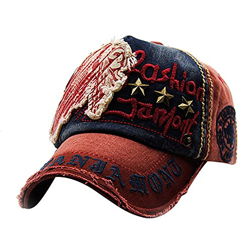Unisex Vintage Unconstructed Embroidery Trucker hat Messy High Bun Adjustable Baseball Cap Blank Washed Visor Dad Hat (E)