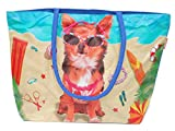 BENZI RY201603 Large Waterproof Beach Tote Holiday Bag - Dog in Sunglasses