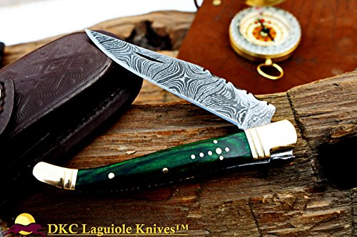 DKC Knives (12 6/18) DKC-313 Green Elf Laguiole Damascus Steel Folding Pocket Knife 4