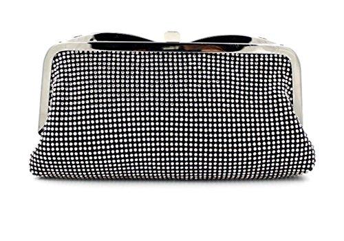 Black Soft Bag Clasp Rhinestone Soft Evening Studded HMaking Handbag Clutch pSRzvq