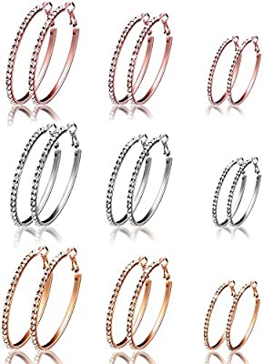 6 Pairs Hoop Earrings with Rhinestone Stainless Steel Hoop Earrings for Women Gifts, 3 Colors