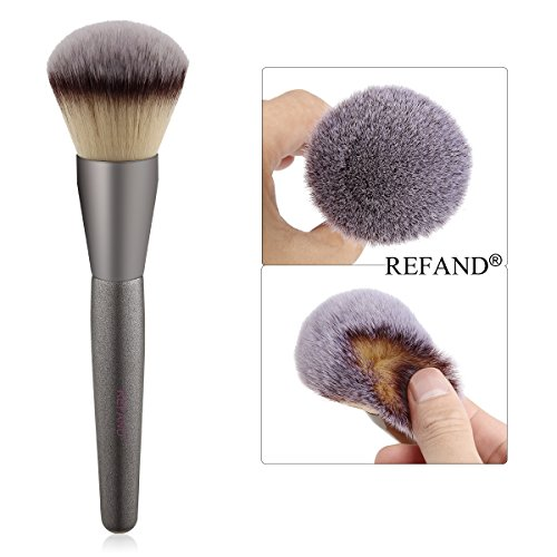 Refand Foundation Makeup Brush Flat Top Kabuki for Face - Perfect For Blending Liquid, Cream or Flawless Powder Cosmetics - Buffing, Stippling, Concealer (Round Brush)