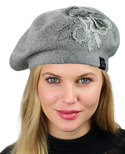 C.C Rhinestone Embellished Embroidered Flower French Style Angora Beret, Gray