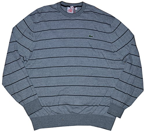 Sweater Neck Large Medium Mens (Lacoste Live Men's Crewneck Pullover Striped Cotton Sweater (XXX-Large (8), Medium Grey Jaspe/White-Black))