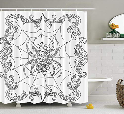 Bathroom Shower Curtain Spider Coloring Halloween Coloring Mandala Border Animal Monochrome Spider Tattoo Waterproof and Mildew Resistant Fabric Shower Curtain Sets with 12 Hooks-78 x 72 inches ()
