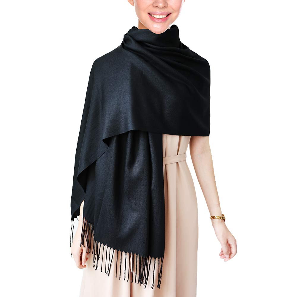"Wapodeai Pashmina Scarf  Premium Large Scarf Women Scarves  Suitable for Spring Summer Autumn and Winter 78.75""x27.6"" Black"