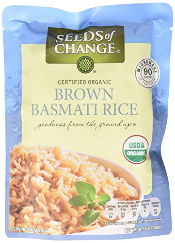 Seeds of Change Microwavable Rice, Whole Grain Brown Basmati Rice, 8.5 Ounce (6Pack) Basmati Rice Whole Grain