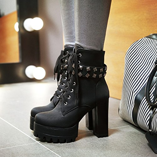 Women's Susanny Cowboy Boots Lace Mid Leather Black3 Ankle up Heel Calf Motorcycle Buckle Booties Military High SdqdTw