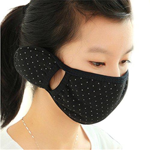 HugeStore 2 Pcs Winter Polka Dot Cotton Ear Loop Face Mouth Mask Ear Warmer Ear Muffs for Outdoors