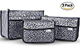 Periea Handbag Organizer Insert For Purse Tote and Diaper Bag-Chelsy-3 Piece Set- Small, Medium And Large (Silver/Leopard)