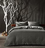 Kiss&tell Linen Cotton Queen Duvet Cover Set Soft Bedding Set Solid Color Wrinkle Count Egyptian Hotel Quality Gray