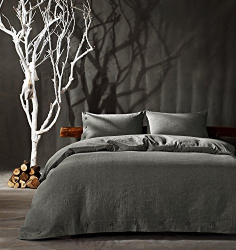 Flax Color (Kiss&tell Linen Cotton King Duvet Cover Set Soft Bedding Set Solid Color Wrinkle Count Egyptian Hotel Quality Gray)
