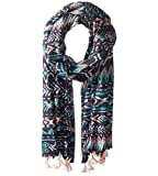San Diego Hat Company Women's Woven Abstract Print Scarf, Navy, White, OS