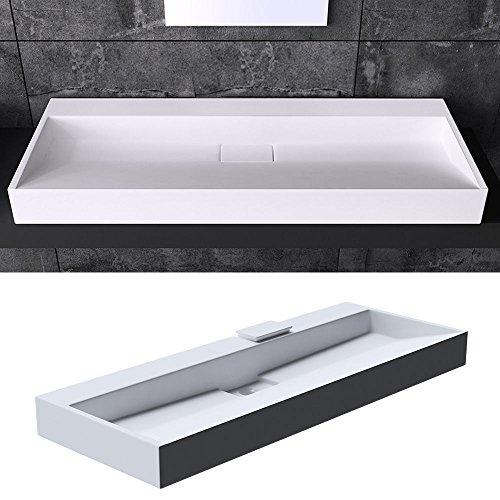 BTH: 120x46x11 cm Design Waschbecken Colossum19, ohne Armaturenloch, aus Gussmarmor, Waschtisch, Waschplatz