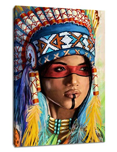 KALAWA Yellow Native American Girl Feathered Women Canvas Prints Colorful Modern Wall Decoration Wooden Framed Ready to Hang(24''W x 36''H)