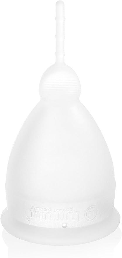 Lumunu passion products Copa menstrual de silicona medicinal con cepillo de limpieza natural (bolsa y caja de regalo) B tamaño Grããÿe B (transparente)