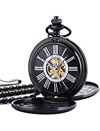 ManChDa Classic Mechanical Smooth Double Black Case Roman Numberals Pocket Watch Fob Gift For Men Women