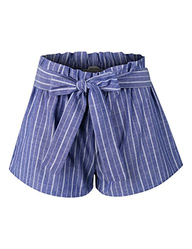 (makeitmint Women's Pin Stripe Elastic High Waist Pocket Shorts w/Front Tie Belt YBS0017-BLUE-MED)