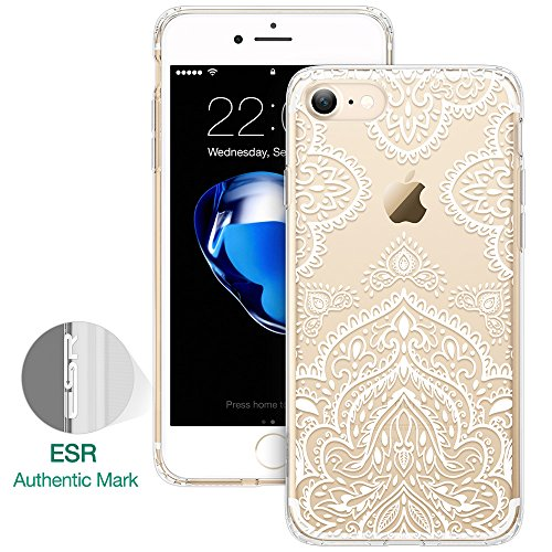 iPhone 7 Funda, ESR Carcasa iPhone 7 Case Cover Borde Suave + Duro Funda para iPhone 7 4.7 - Casa de la Moneda de la mandala Hojas Blacas