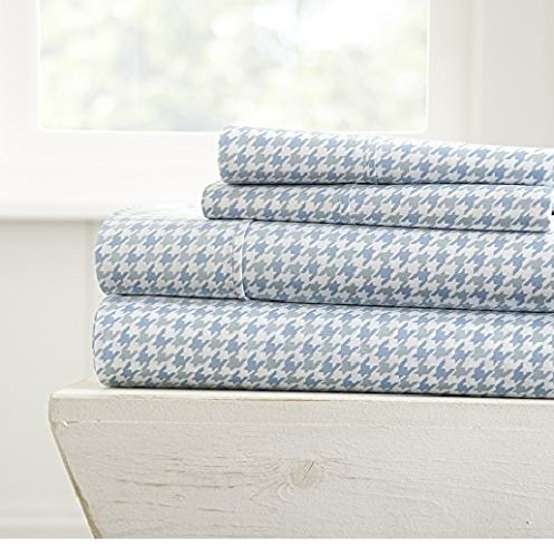 Simply Soft 3 Piece Sheet Set Houndstooth Patterned, Twin, Light Blue