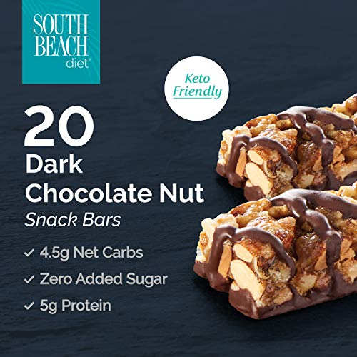 South Beach Diet® Dark Chocolate Nut Snack Bars, 20 Count Keto-Friendly Diet Bars to Support Healthy Weight