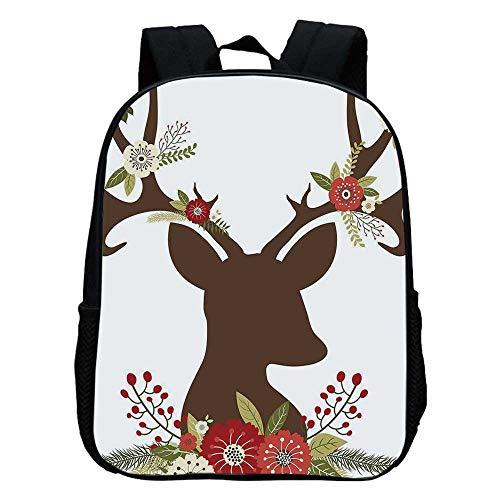 Antler Decor Durable Kindergarten Shoulder Bag,Christmas Inspired Design Reindeer Silhouette Horns with Spring Meadow Flowers Decorative For school,11.8