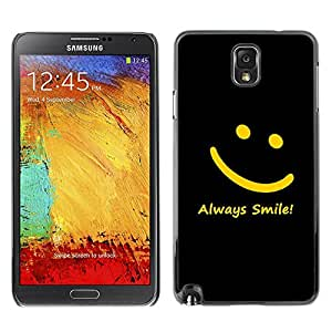 Caucho caso de Shell duro de la cubierta de accesorios de protección BY RAYDREAMMM - Samsung Galaxy Note 3 N9000 N9002 N9005 - Smiley Yellow Black Always Smile Message