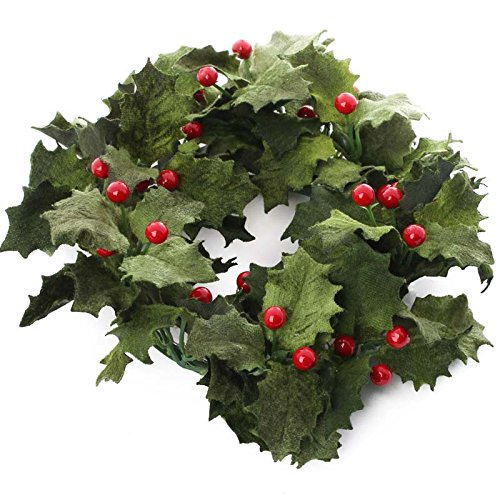 Factory Direct Craft Realistic Velvet Artificial Holly Candle Ring for Holiday Home Decor and Decorating Holly Berry Candle Rings
