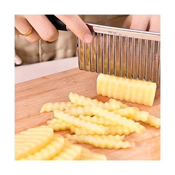 Ndier Cuchillo Corrugado Vegetal, Cuchillo Corrugado de Acero Inoxidable para Cortar Patatas, Cuchillo de Cocina de Acero Inoxidable 51Zv 2BFgKTML