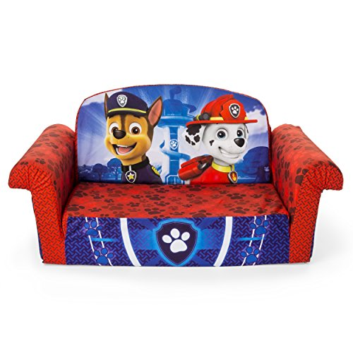 Open 2 Sofa Back Seat (Marshmallow Furniture Children's 2 in 1 Flip Open Foam, Nickelodeon Paw Patrol Sofa Chair Furniture, Red)