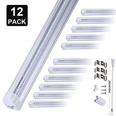 8FT LED Shop Light Tube Fixture?72W Dual-Sided V-Shape Integrated LED Tube Lights, 72000LM, AC85-277V, SMD2835 Clear Cover, Cool White 6000K, LED Cooler Door Lights 12 Pack …