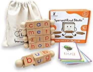 Little Bud Kids Spin-and-Read Montessori Phonetic Reading Blocks and Flashcard Travel Toy Set for Beginner Rea