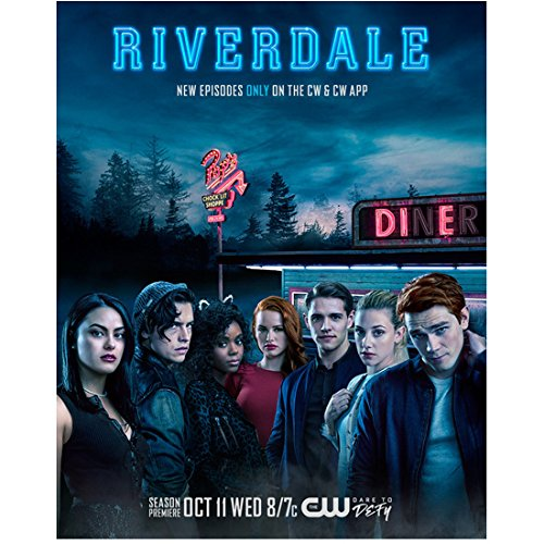 K.J. Apa 8 inch x 10 inch PHOTOGRAPH Riverdale (TV Series 2017 - ) w/Cast Outside Diner Title Poster #2 kn